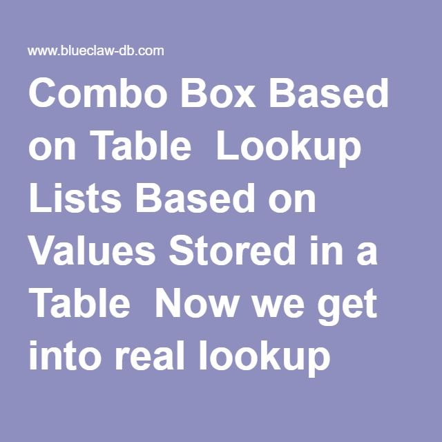 Combo Box Based on Table Lookup Lists Based on Values Stored in a - examples of spreadsheet software programs