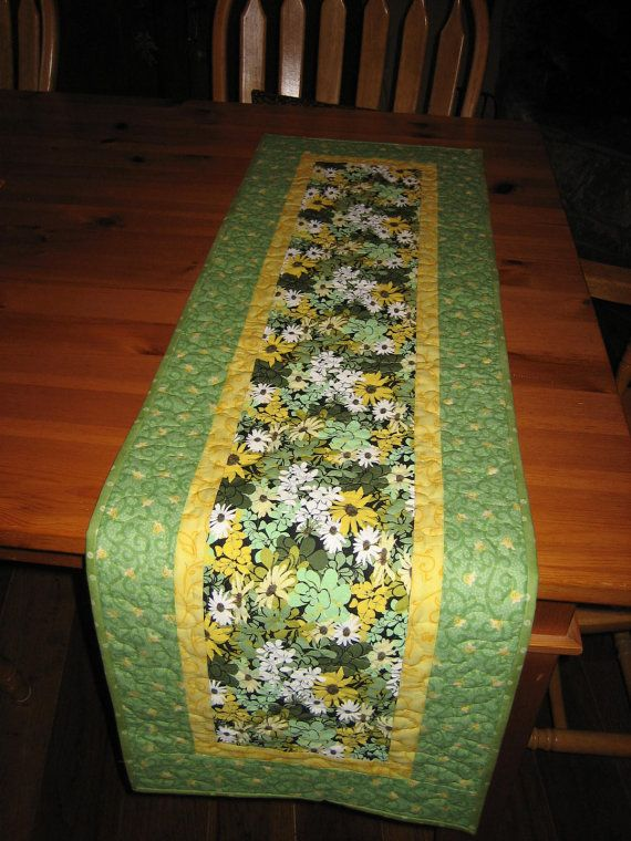 Quilted Table Runner Spring Mint Green And Yellow Quiltsyteam Quilted Table Runners Table Quilts Spring Table Runner