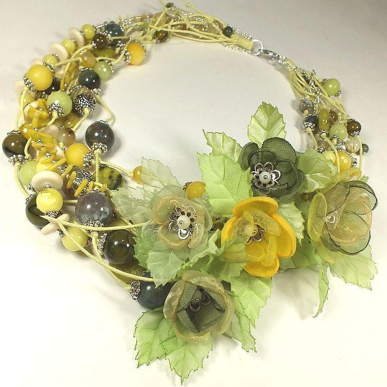 Купить Утро Лимонной Рощи. Колье, серьги, цветы из ткани.Комплект украшений. - оливковый, лимонный