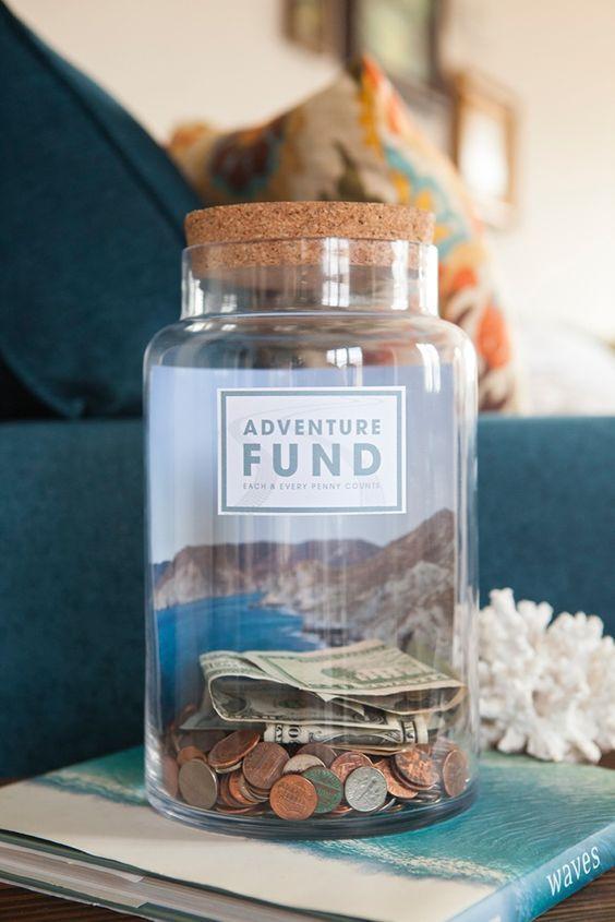 Make Your Own Fund Jar With 4 Different Free Labels Diy Honeymoon Money Jars Savings Jar