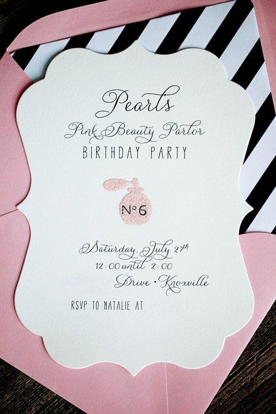 Beauty Parlor Birthday Party Invitation