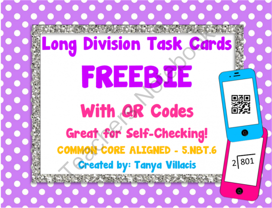 Long Division Task Cards FREEBIE COMMON CORE ALIGNED 5.NBT