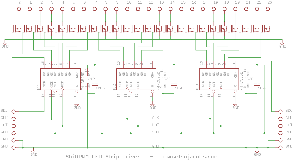 ShiftPWM LED strip driver schematic | Gaming | Pinterest | Led strip ...