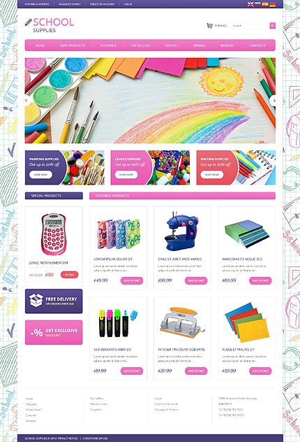 Template 49492 - School Supplies osCommerce Template Ecommerce