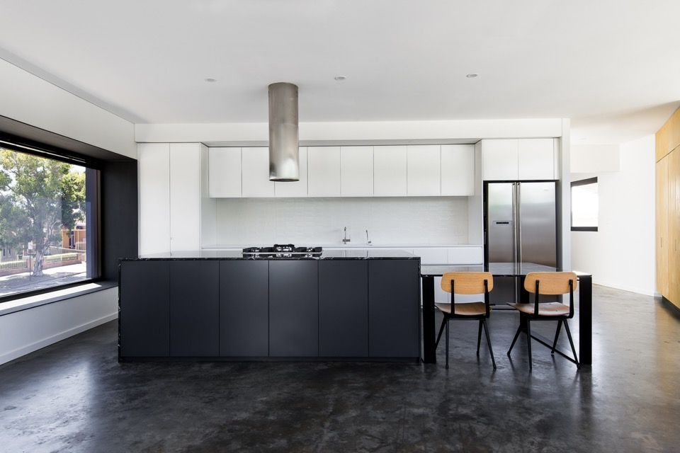 Monochrome Kitchen. Local Heroes: Triangle House By Robeson Architects.  Image By Dion Photography. Vincent St, Mt. Lawley. Perth Residential  Architecture.