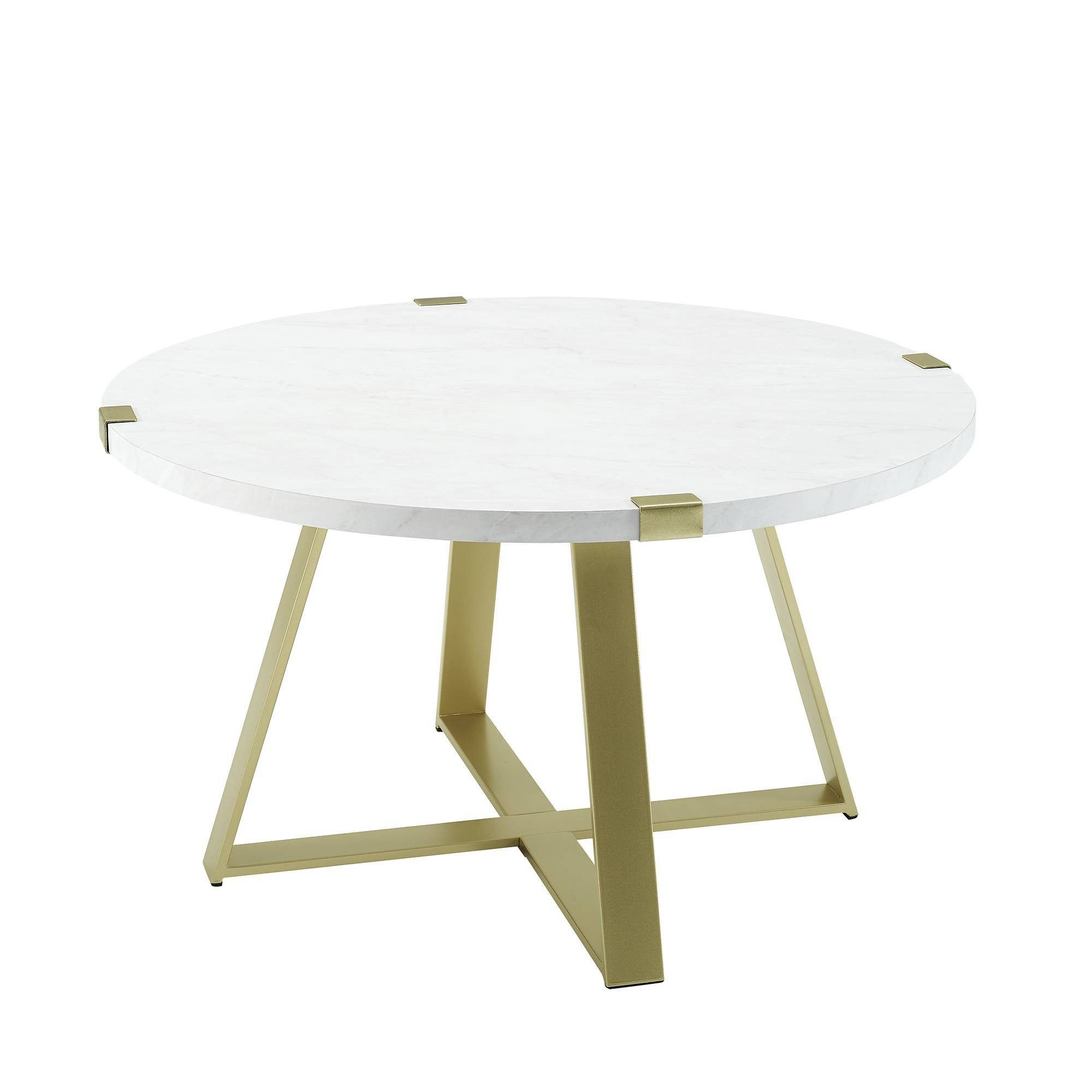 Glam round coffee table white faux marblegold saracina