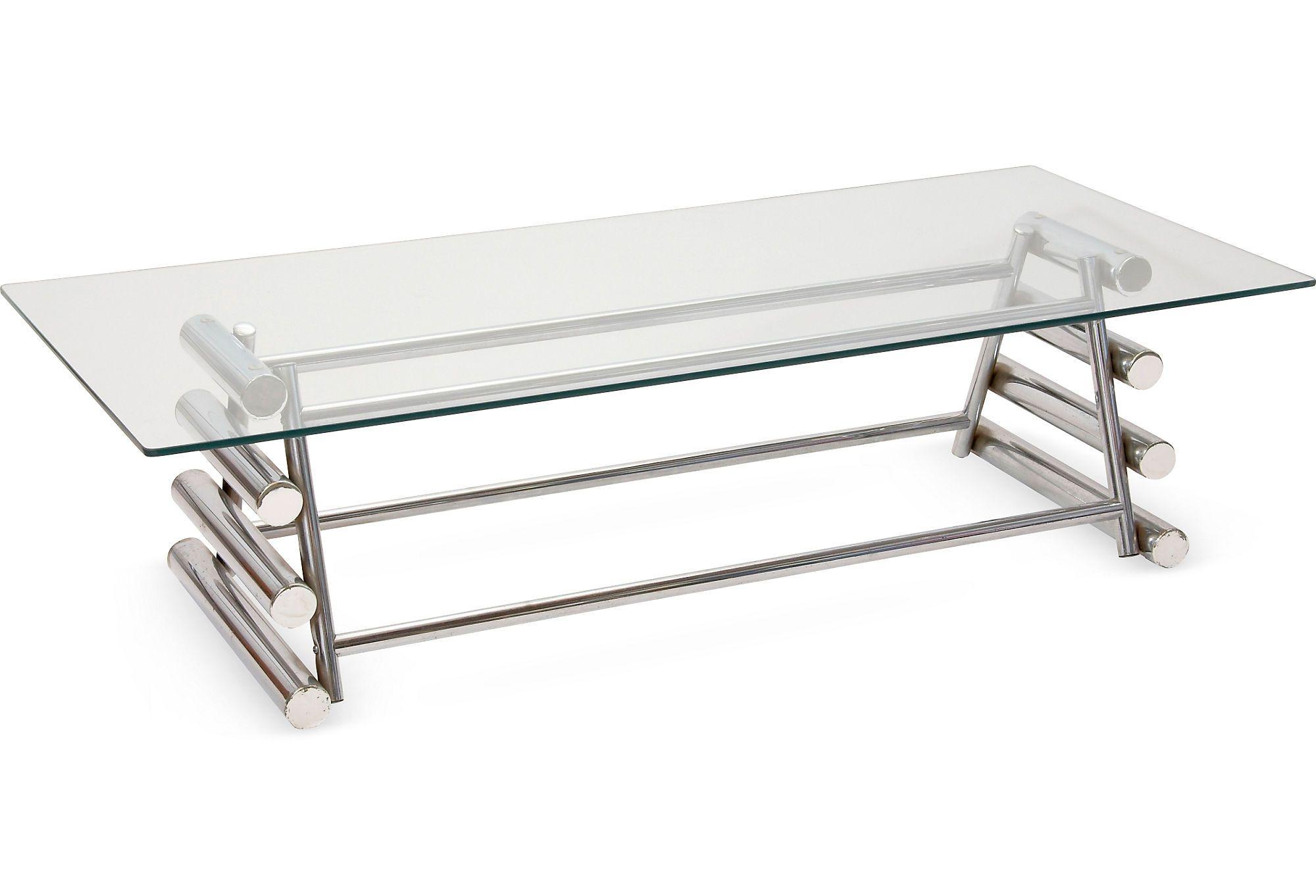 TROVE DECOR Chrome & Glass Coffee Table Coffee table