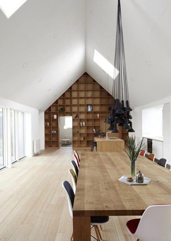 Salle à manger minimaliste aux meubles de bois brut   Solide ...