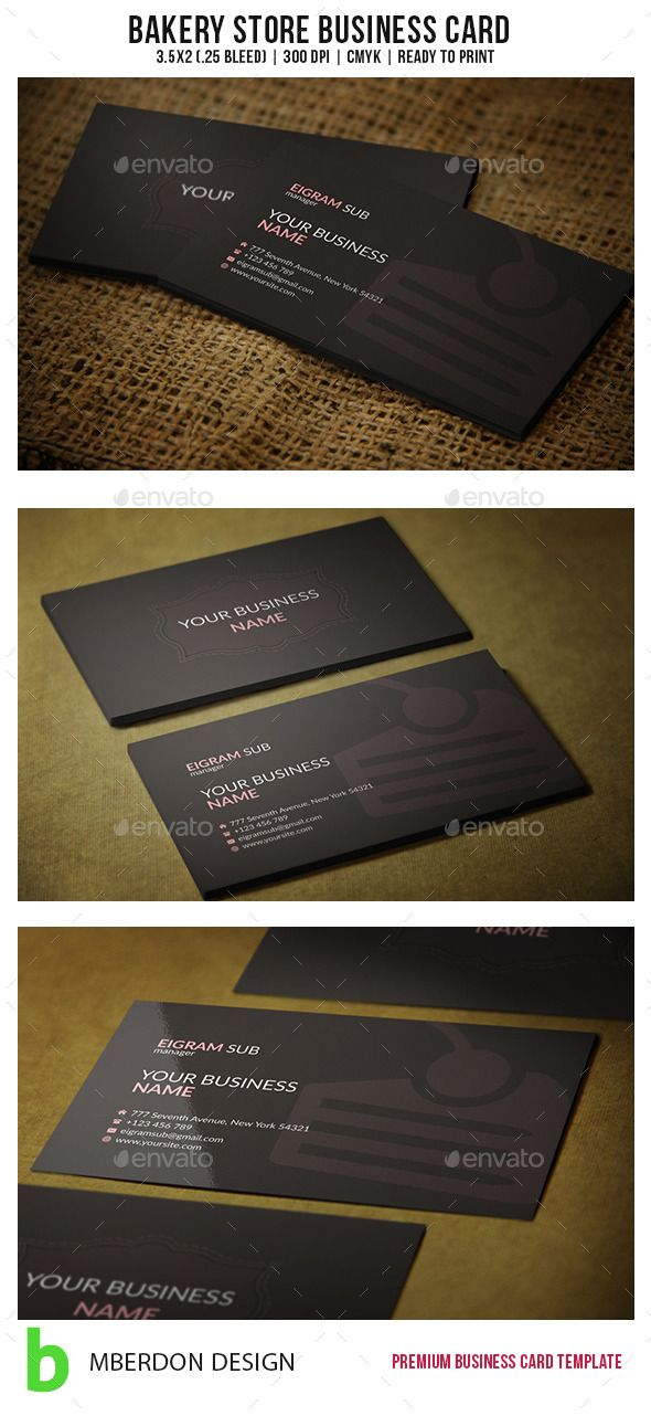 Bakery Store Business Card | Bakery store, Business cards and Font logo