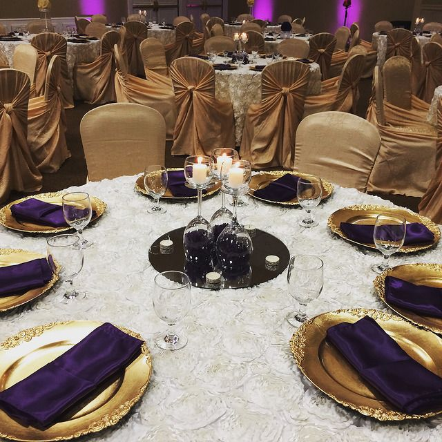 Gold pillowcase chair covers, gold chargers, royal purple satin ...
