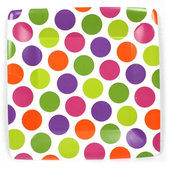 Mixalicious 10 Inch Square Paper Plate Square Paper Paper Plates Polka Dot Paper