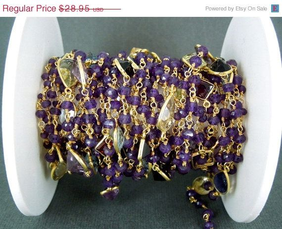 30 off SALE Amethyst Wire Wrapped Beaded Chain by jewelersparadise, $20.26