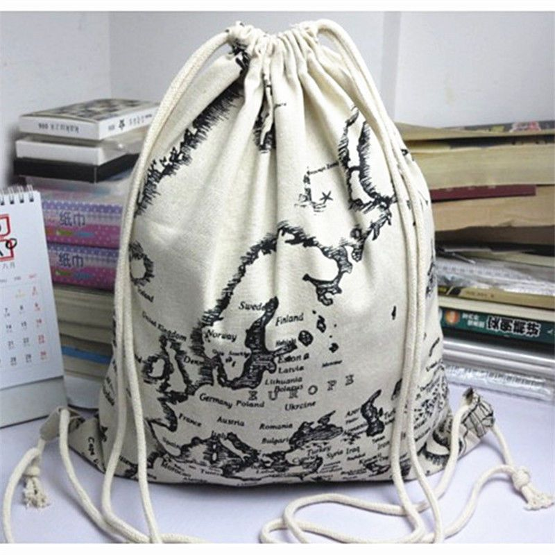 Ywa07 simple fabric bag linen drawstring backpack student book bag yile simple fabric bag linen drawstring travelling backpack student book bag world map gumiabroncs Image collections