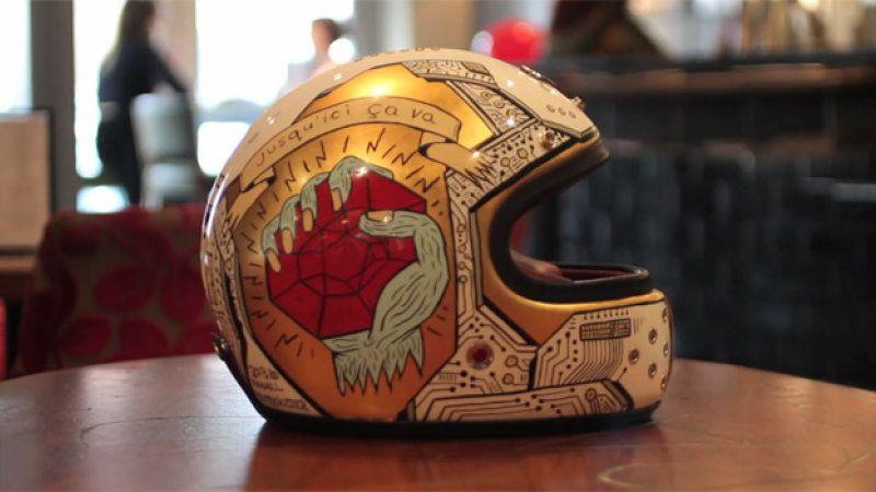 Watch a custom Ruby motorcycle helmet get illustrated