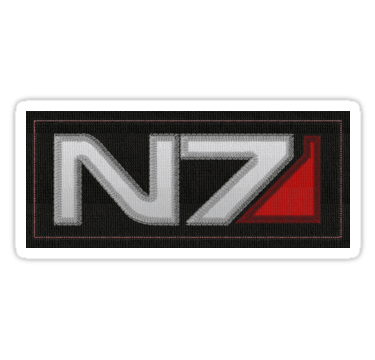 N7 Embroidered Patch Style Sticker Mass Effect Sticker Patches Fashion Embroidered Patches Mass Effect