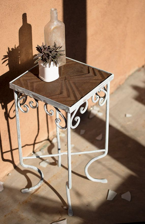 Metal Plant Stand Or Accent Table With Recycled Tin Ceiling Tile