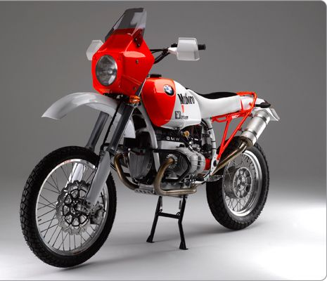 Highly modified 1989 BMW R100GS with ground-up restoration by Richard Moore using unique Moorespeed components and replica Paris-Dakar paint...