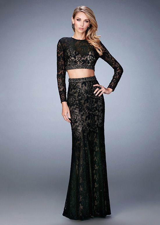 4c2e549e6f2d1 2016 Fashion Two Piece Long Sleeves Fitted Beaded Lace Prom Dress .