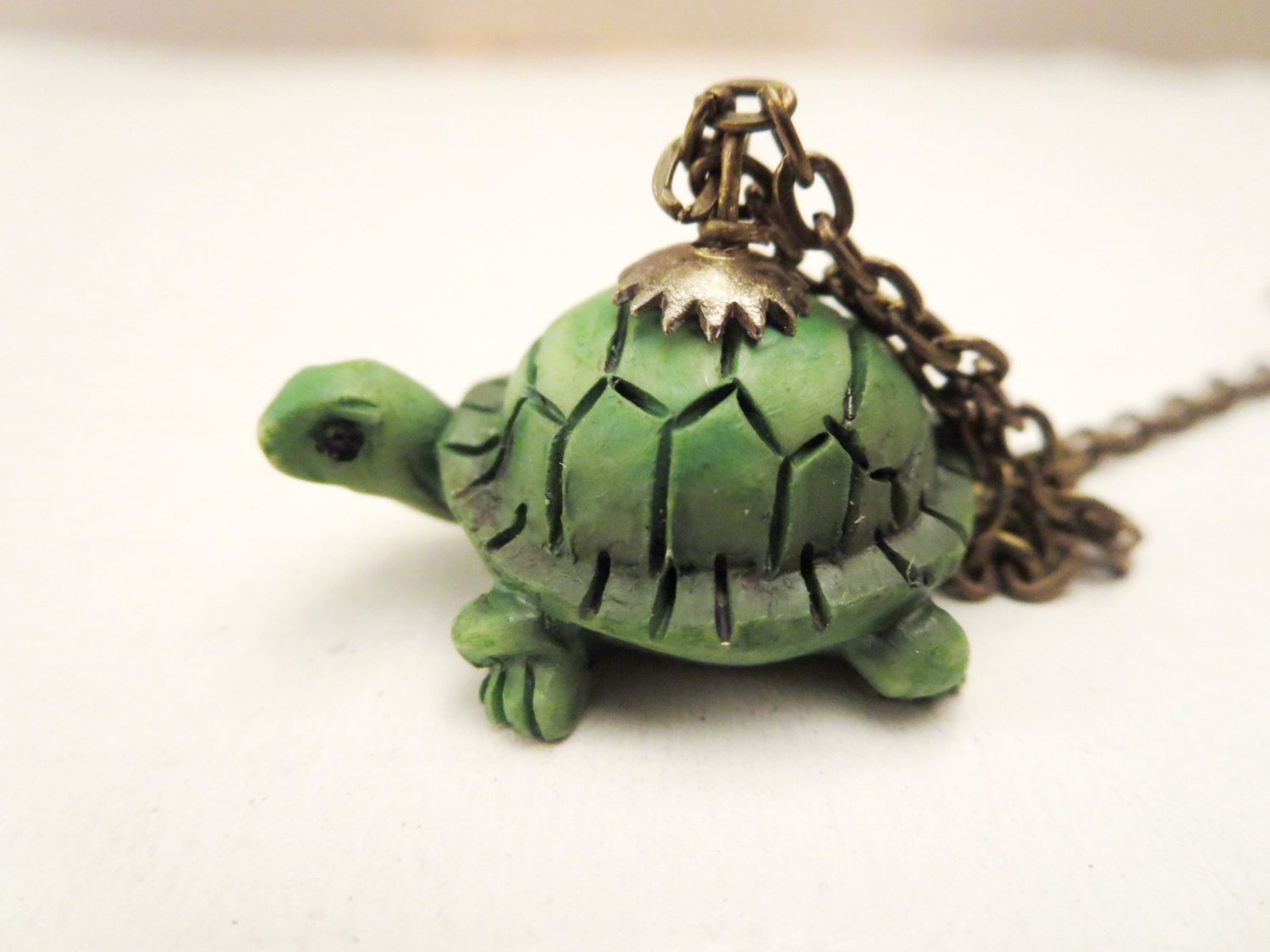 Turtle necklace green turtle pendant globe glass turtle ring