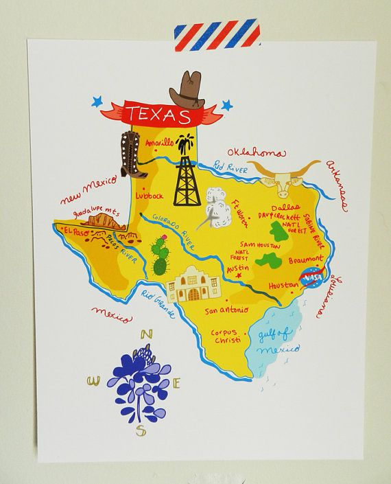 Map Of Texas Frisco.Texas Illustrated 8 X10 Map In 2019 Random Map Travel Maps