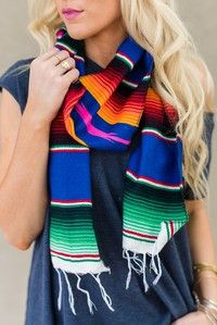 Beautiful colorful serape blanket scarves Boho style in a wrap long fringed ends…