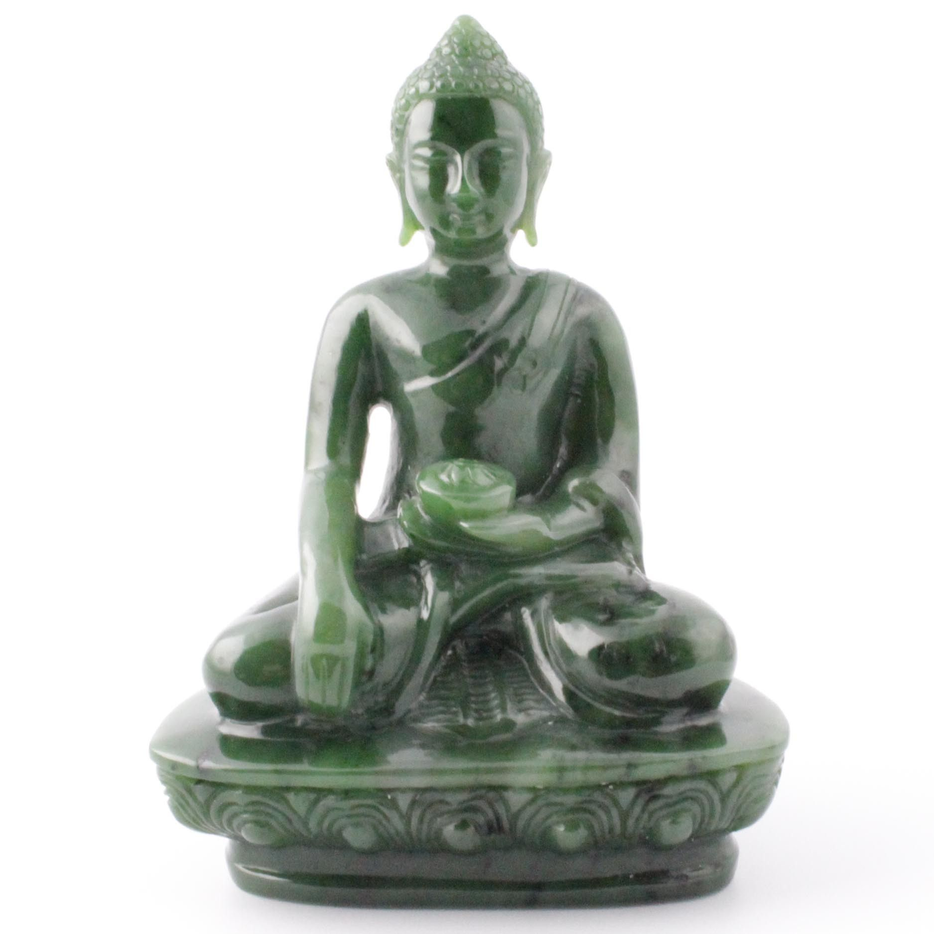 Jade Medicine Buddha Statue Approximately 5 Inches Tall Fine, nephrite Jade  carved into a perfect
