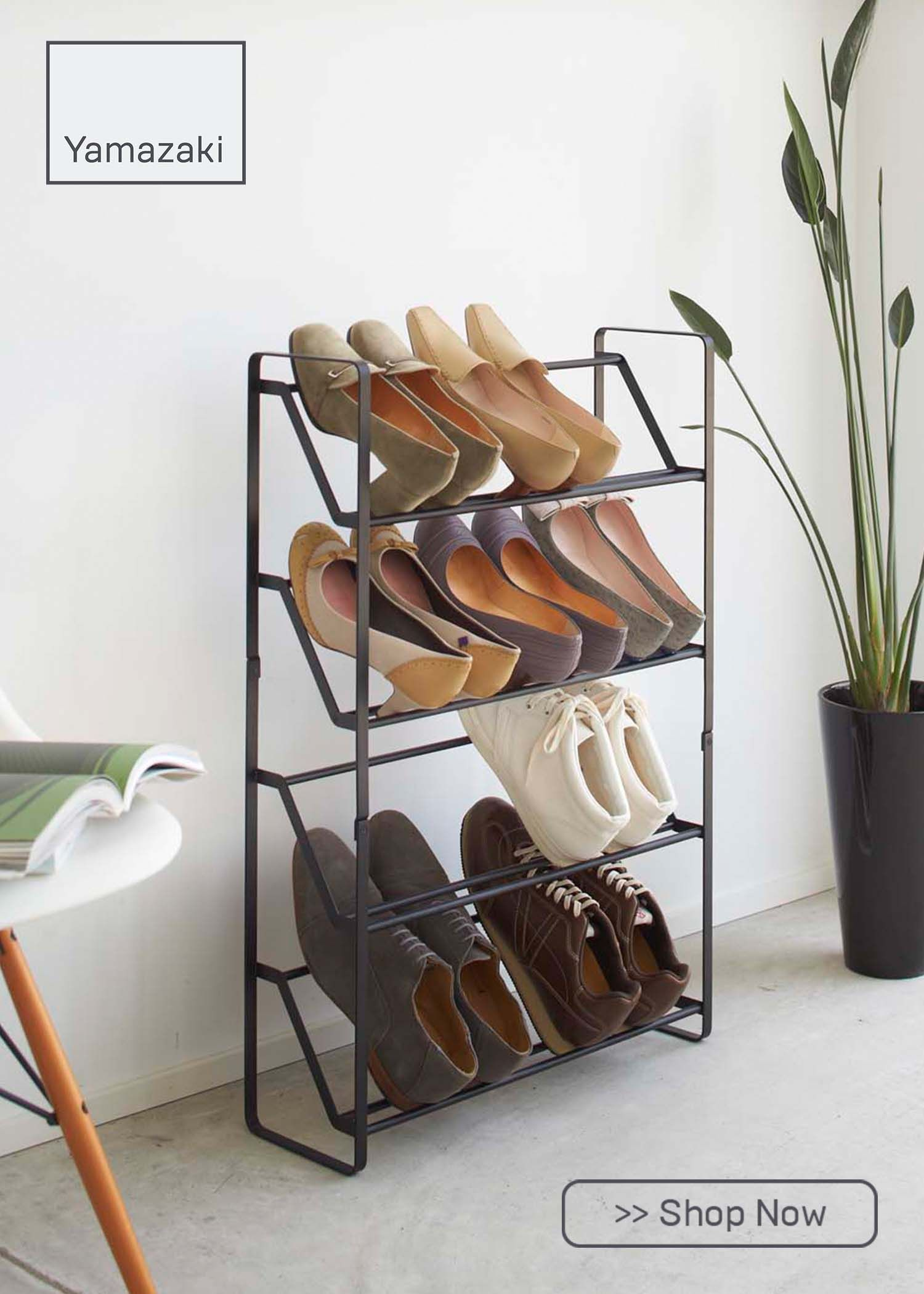4 Tier Slim Angled Shoe Rack In 2020 Slim Shoe Rack Industrial Shoe Rack Rack Design
