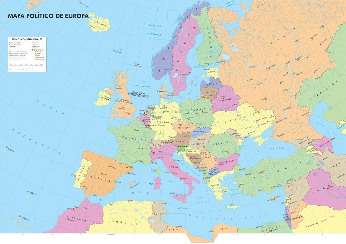 Mapa Europa Politico Capitales.Mapa De Paises Y Capitales De Europa Ign Mapa De Europa Mapa Politico De Europa Mapa Paises