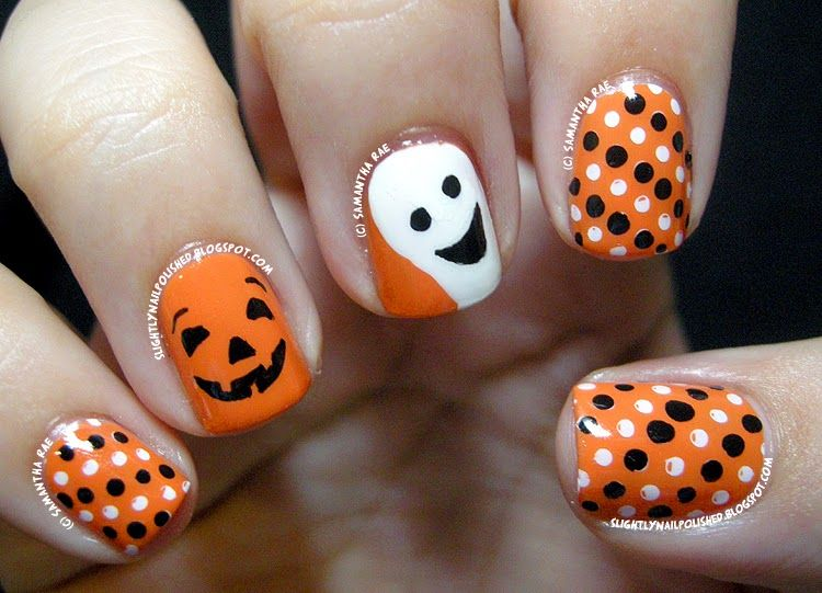 40 spooky and creative diy halloween nail art ideas a happy pumpkin and ghost nail art - Easy Cute Halloween Nail Designs