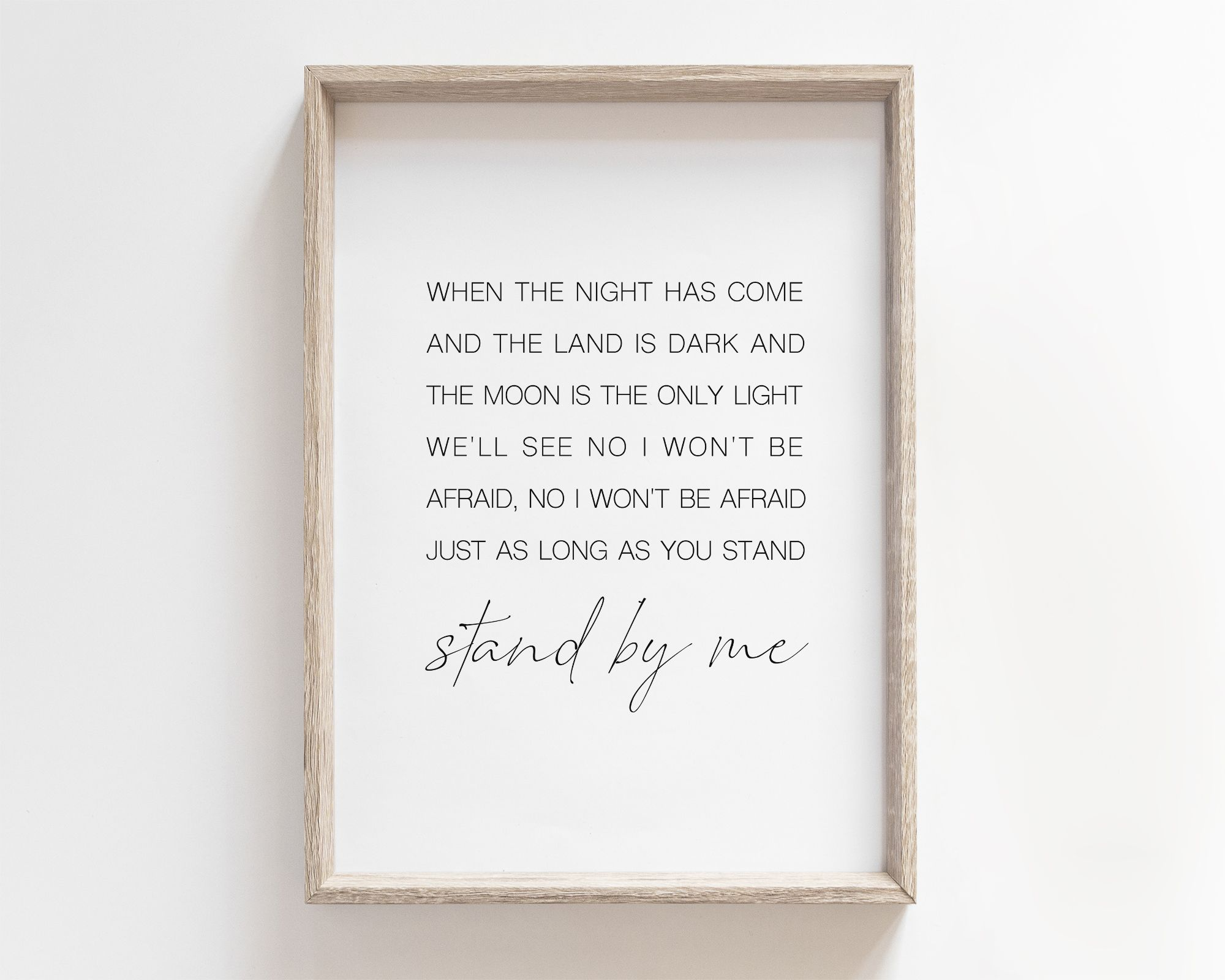 Printable Stand By Me Lyrics Print Stand With Me Poster Minimalist Prints Gifts Sign Wall Art Song Quote Quotes Poem Lyrics I Love You Above Stand By Me Lyrics Lyric Prints
