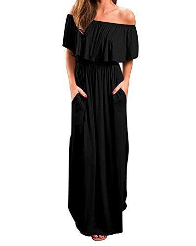 e052154dfa Kidsform Women Maxi Dress Short Sleeve Off Shoulders Ruffles Side Split Long  Dress with Pockets Black
