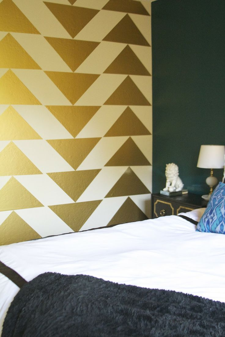 Creating a gold triangle accent wall is a unique way of creating a ...