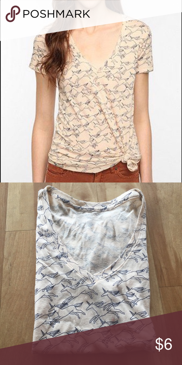 Urban Outfitters Unicorn V-Neck Tee UO v neck tee in unicorn print. Worn and washed a few times. BDG brand. Urban Outfitters Tops Tees - Short Sleeve