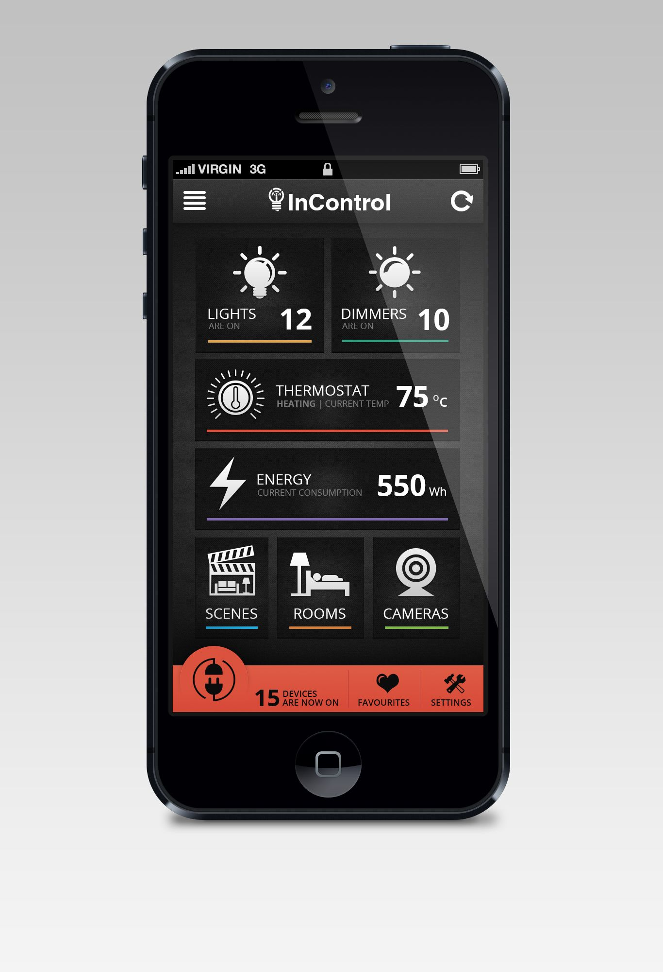 Mobile App For InControl Home Automation By IngeniousThoughts #POTD99  07.03.2013 #lights #home