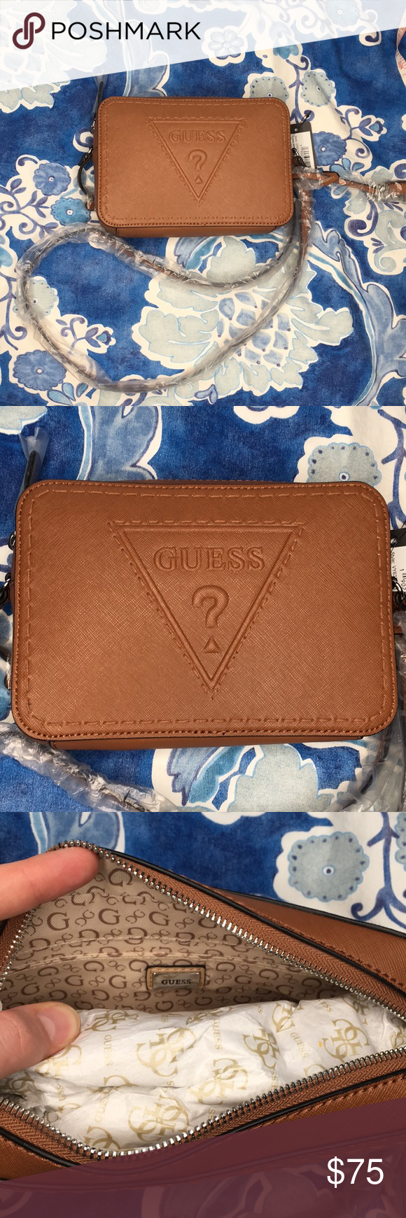 8f7db57b4c3c Guess Baldwin Park embossed whiskey crossbody bag Beautiful structured tan  brown color Embossed guess triangle Long adjustable strap Card and zippered  ...