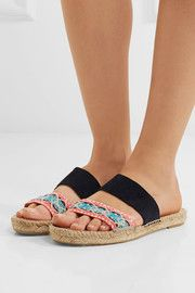 54940cc8788 Manebi Hamptons suede and brocade espadrille slides
