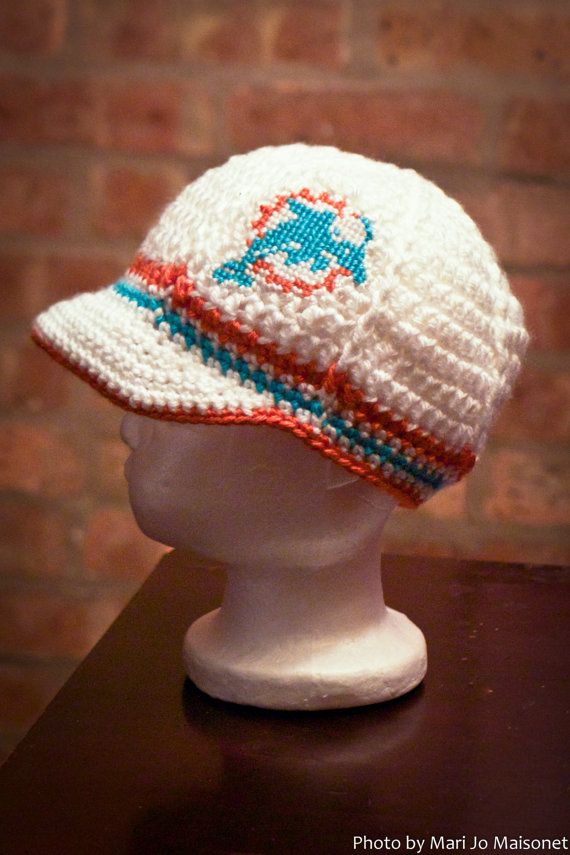68c150a4 Miami Dolphins Inspired Crocheted Baseball Cap by TheHookUp, $25.00 ...