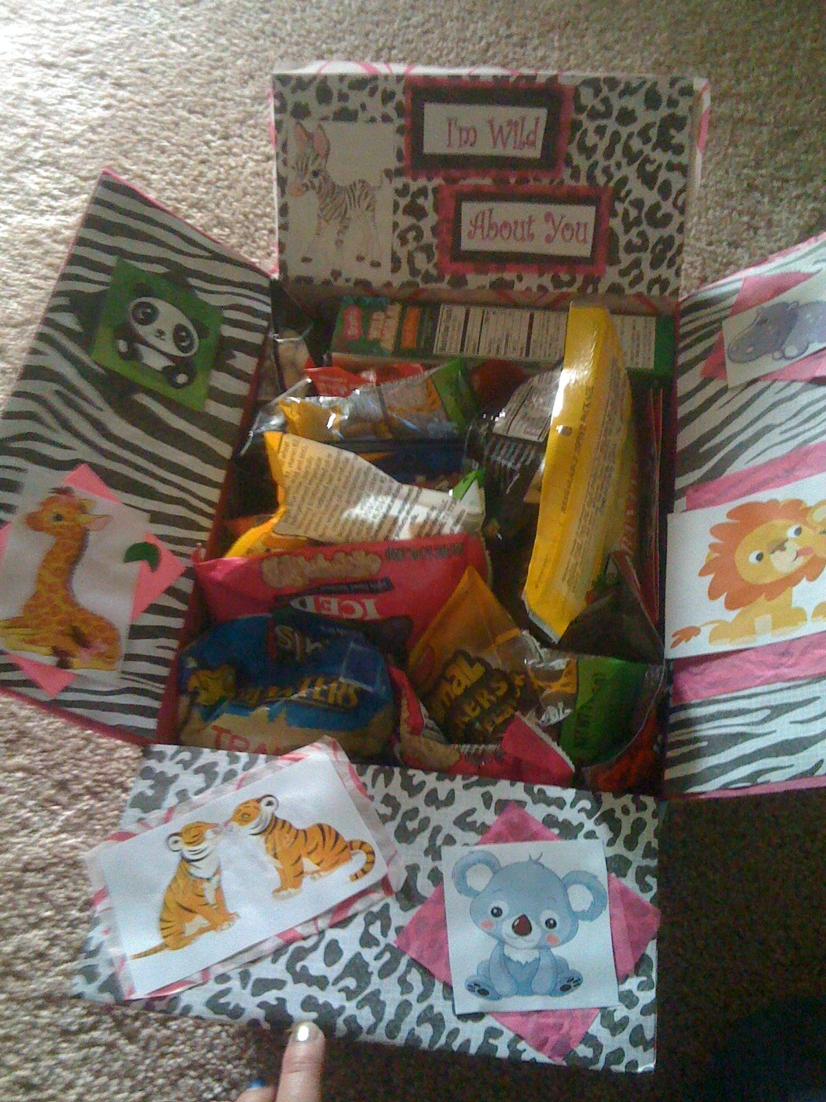 Wild about you box. (Animal Crackers, iced animal cookies, wild animal fruit snacks, peanuts-from the elephants, banana chips-from the monkeys, tuna-from the seals, etc..)