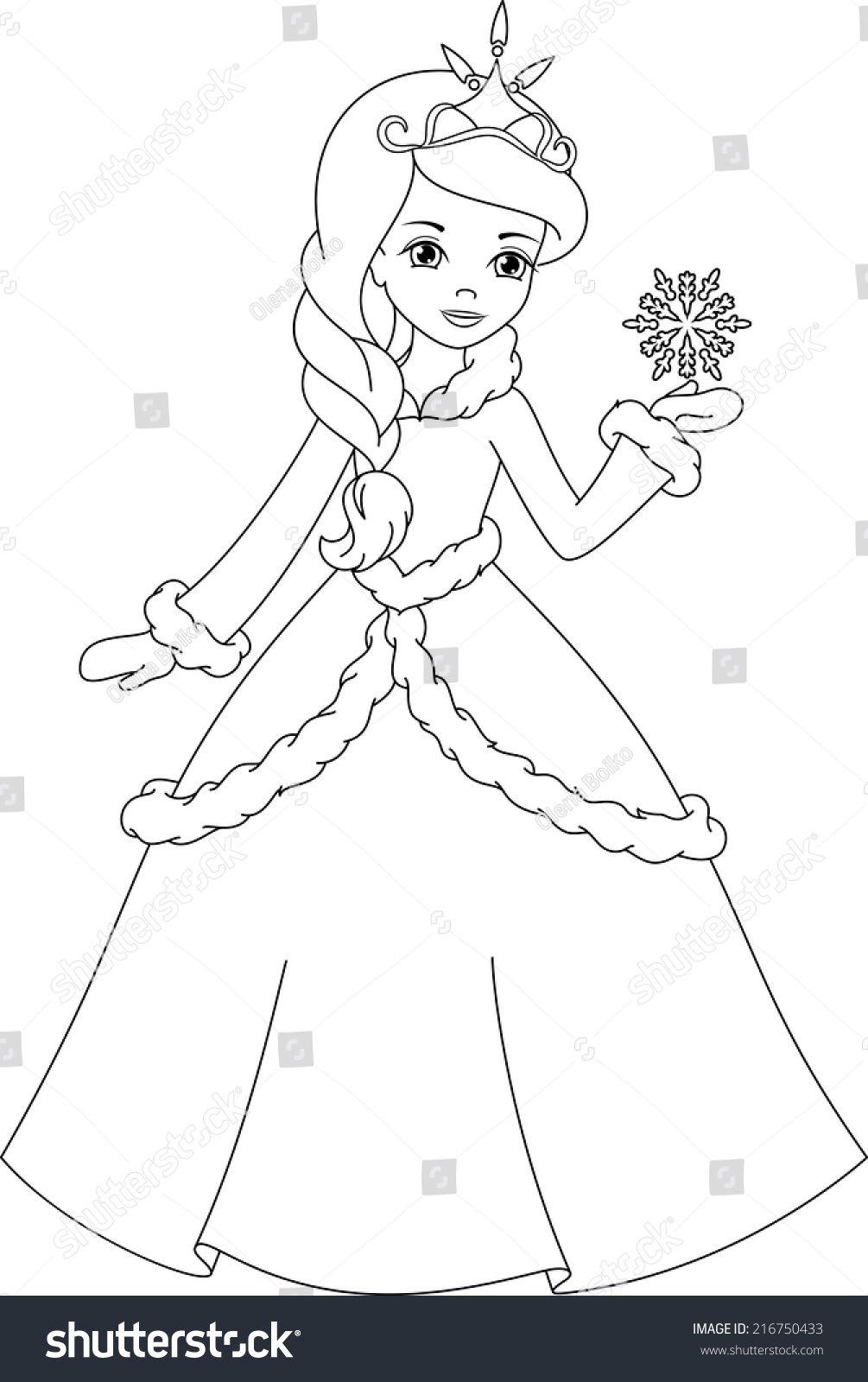 winter princess coloring page | Раскраски дисней ...