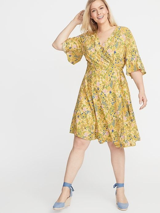 Old Navy Women\'s Waist-Defined Faux-Wrap Plus-Size Dress Yellow ...