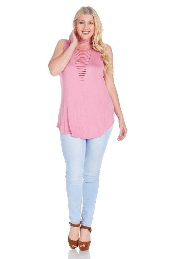 14f1a5d4053a3 Women s Plus Size Flirty Spring   Summer Razor Cut Sleeveless Top 1X-3X 2  Colors  LoveJ  Relaxed  Casual