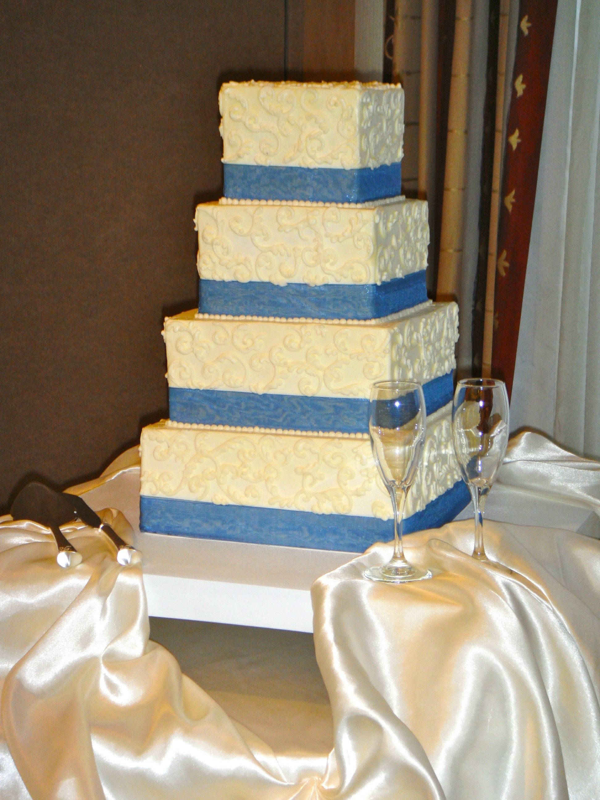 Blue and white square wedding cake | Simply Sweets - Wedding Cakes ...