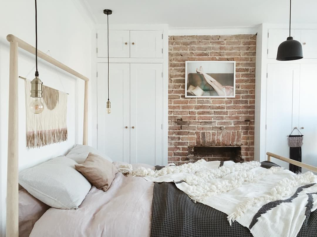 Ikea Gjora Bed With Exposed Brick Wall Scandinavian Style Bedroom