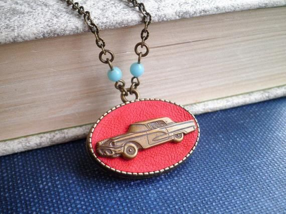 Classic Car Necklace – Retro Red Leather Pin Up Girl Pendant – 1950s Vintage Sed…