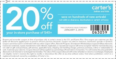 Carters Present This Coupon For Extra Savings Coupons Coupons