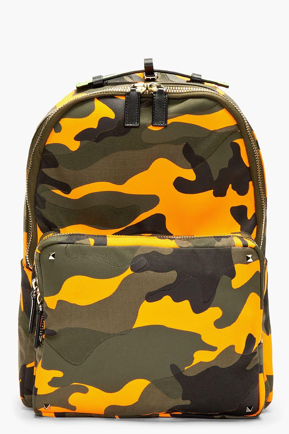 cf38deef00a8f Valentino Orange Camo Backpack | Backpacks in 2019 | Camo backpack ...