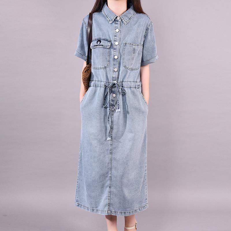 cf936fe8cd0d Summer Short Sleeve Drawstring Waist Casual Denim Dress For Women – Babakud