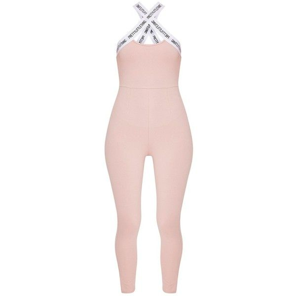 Pretty Little Thing Nude Strap Cross Front Jumpsuit (€31) ❤ liked on Polyvore featuring jumpsuits, pretty little thing, jump suit and pink jumpsuit