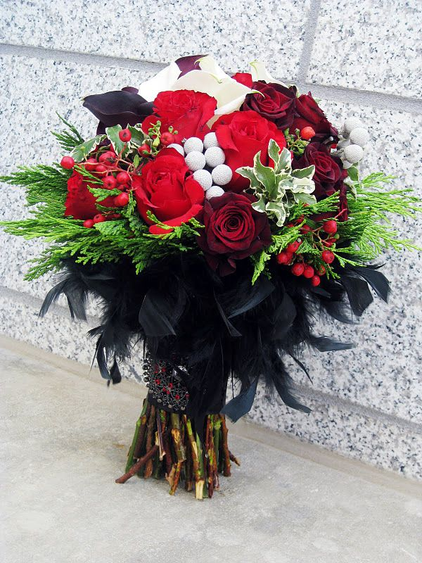 red, black and white bouquet | Wedding Pretties | Pinterest ...