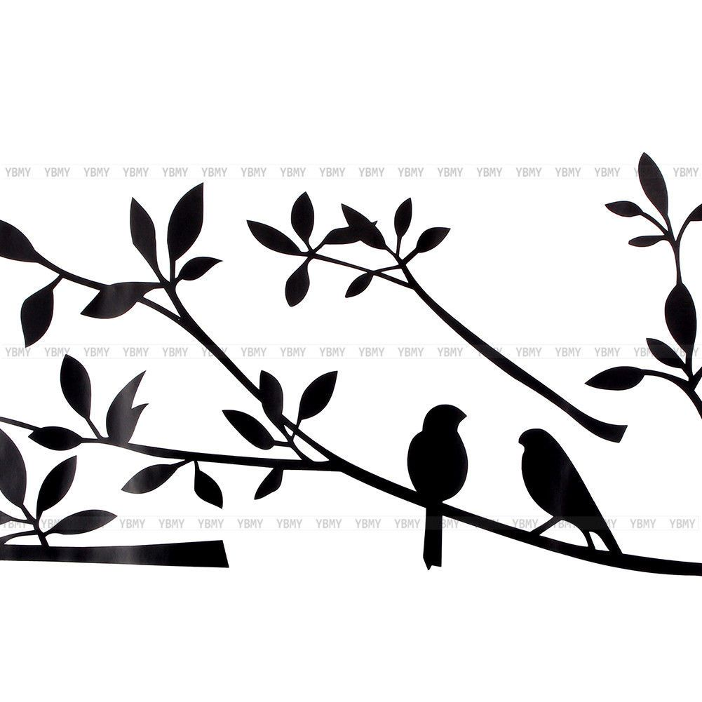 Large removable vinyl art wall sticker tree branch birds mural decal